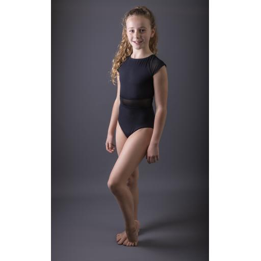 Open back raglan mesh leotard