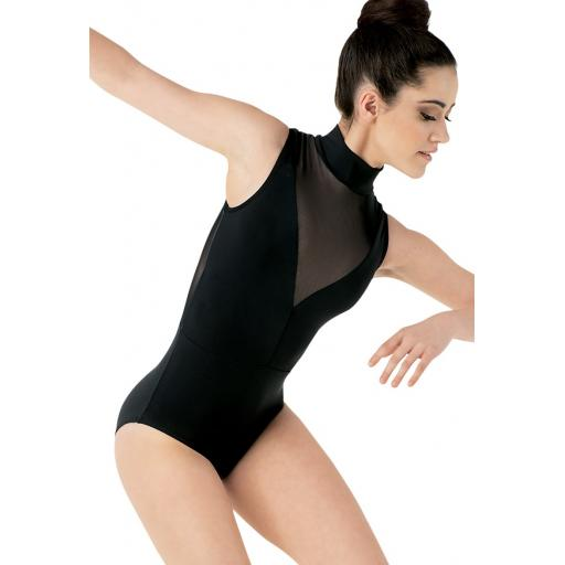 Plunge neck illusion leotard